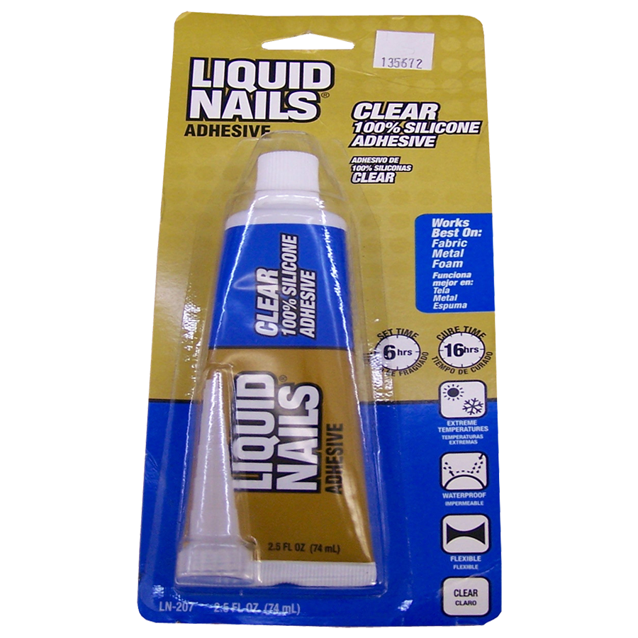 Liquid Nails Clear 2 5 Oz 100 Silicone Fast Bonding Waterproof 135672